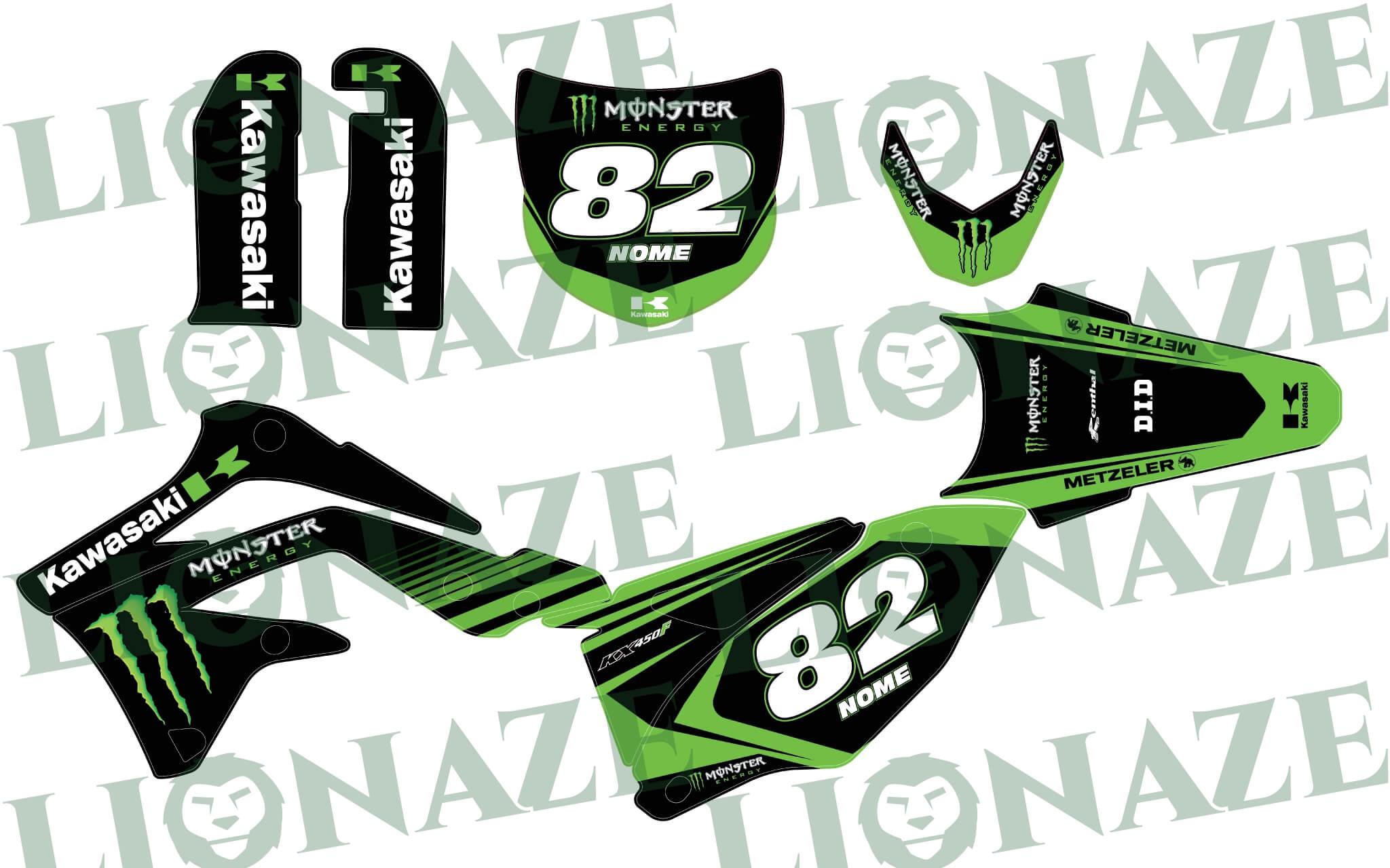 Grafiche Personalizzate Kawasaki Monster per KX KXF 2013 – 2016