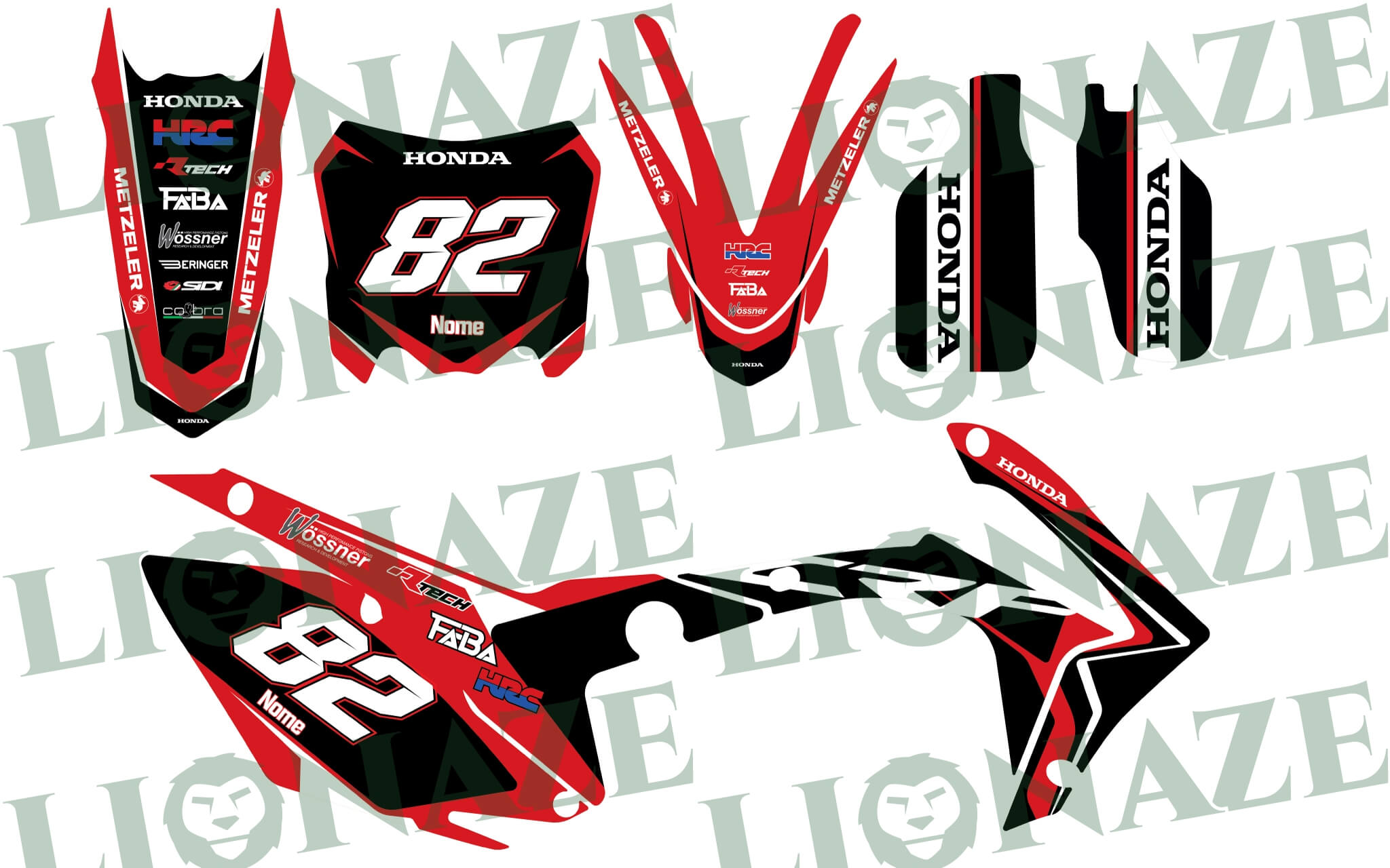Customized Decal kit Honda Wossner for CRF250 2014 – 2016, CRF450 2013 – 2016, CRF450R