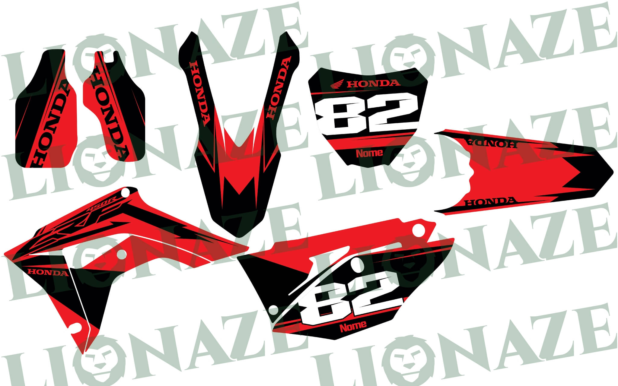 Customized Decal kit Honda for CRF 450R 2017 – 2019, CRF RX 450 2017 – 2019