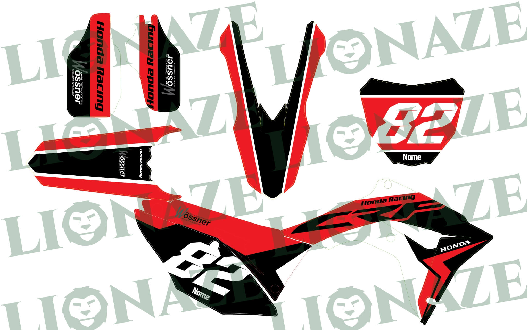Customized Decal kit Honda Wossner for Crf 2017 – 2019