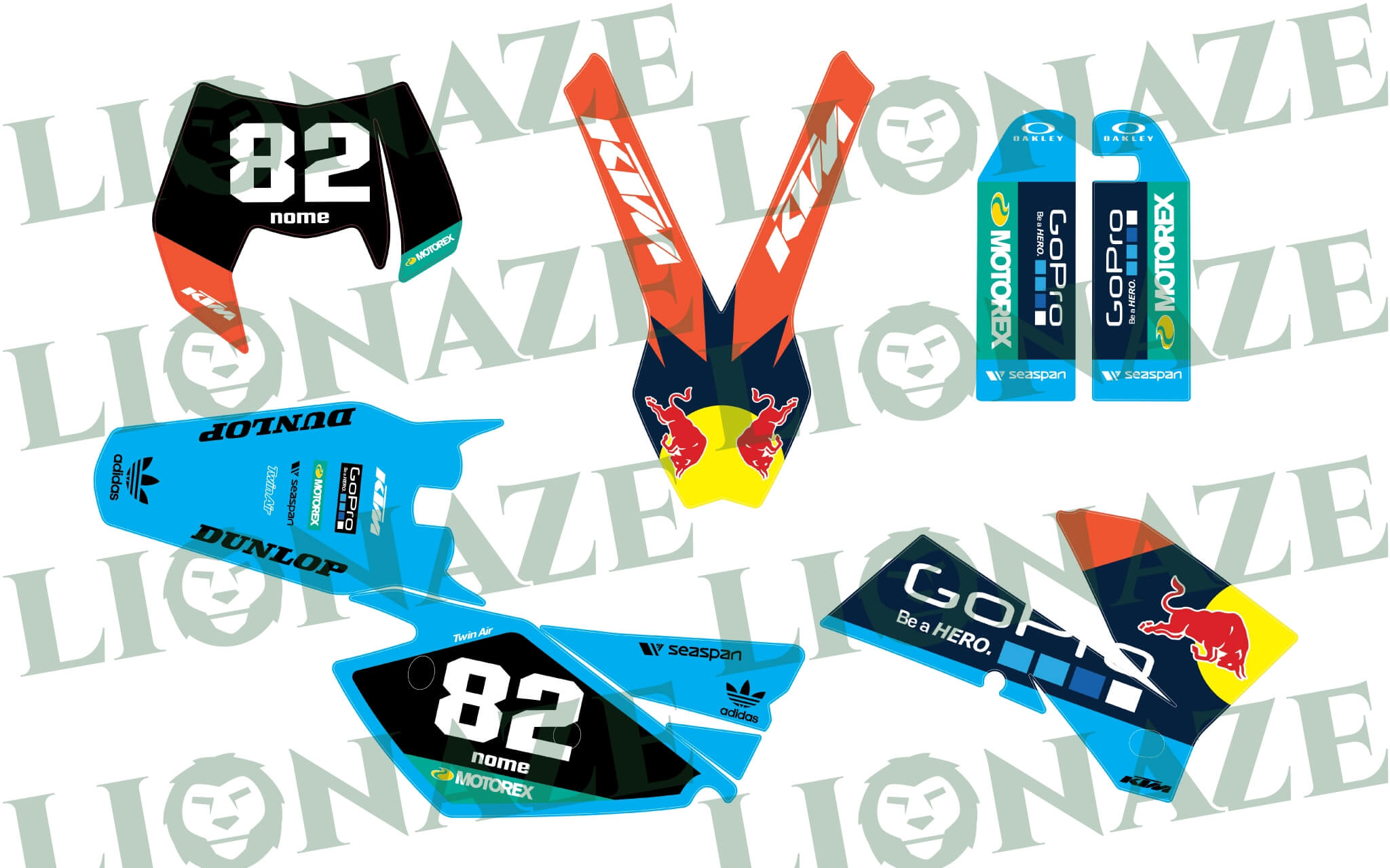 Customized Decal kit Ktm Adidas Red Bull 2004 – 2007