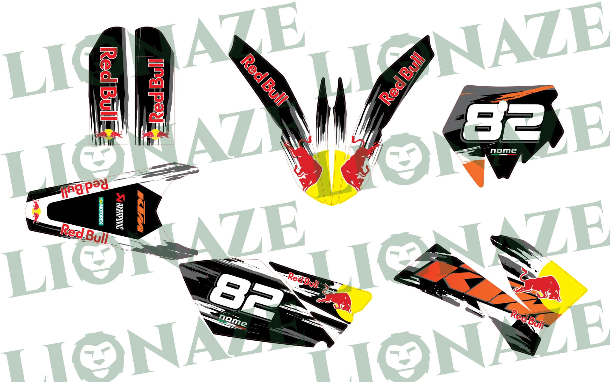 Customized Decal kit Ktm Red Bull for EXC 2004 – 2007