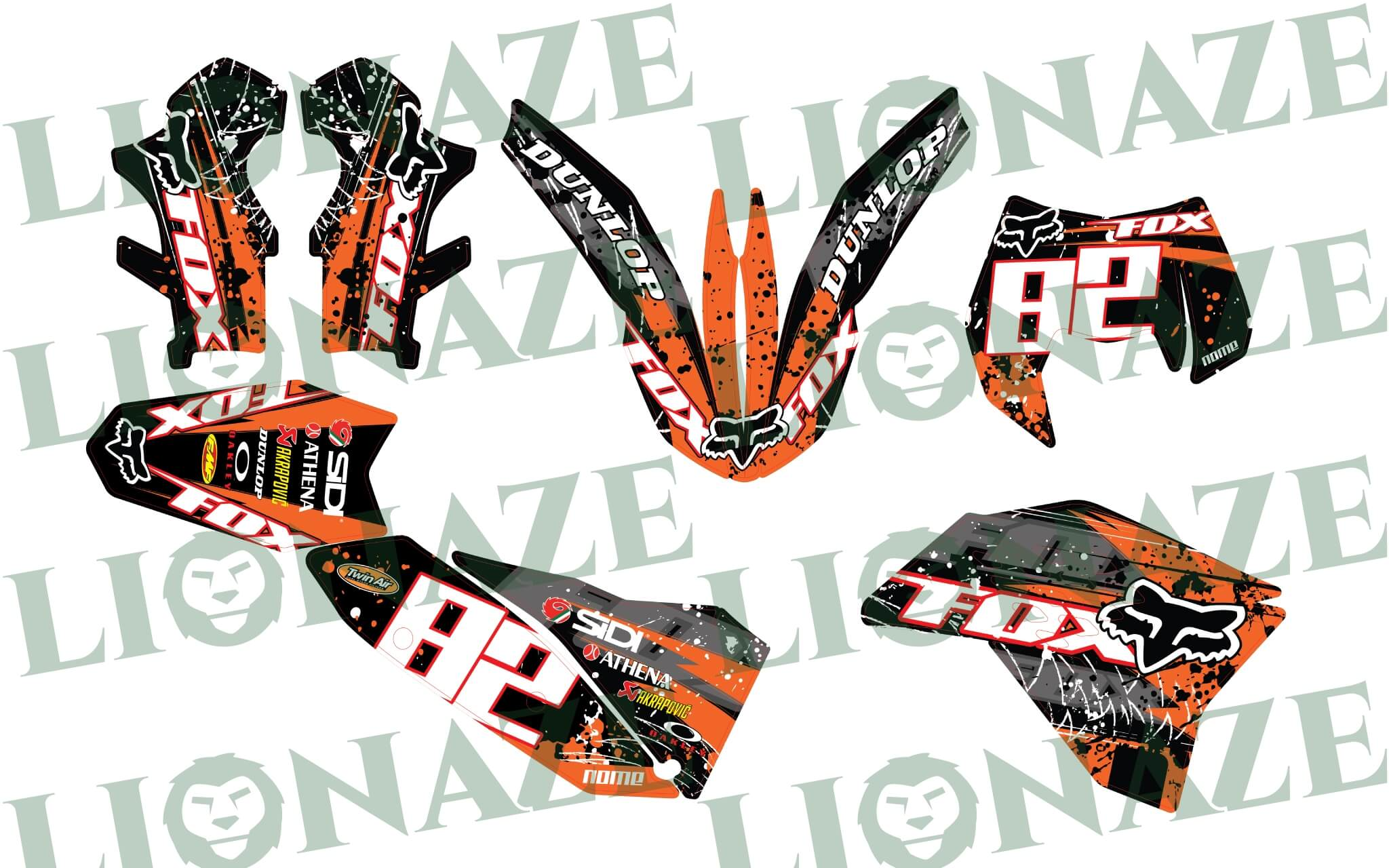 Customized Decal kit KTM EXC Fox for 2008 – 2011